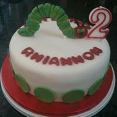 Caterpillar themed birthday cake