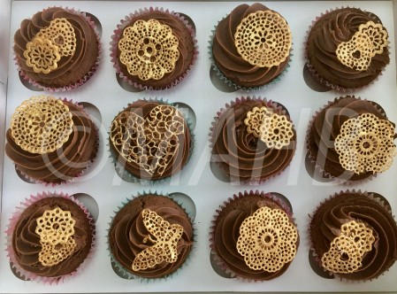 Chocolate Cupcakes with gold sugar lace motifs