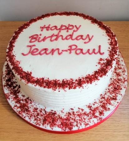 Red velvet cake with white chocolate buttercream