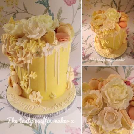 Drip,floral,macaron celebration cake
