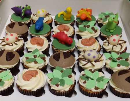 Dinosaur-themed cupcakes