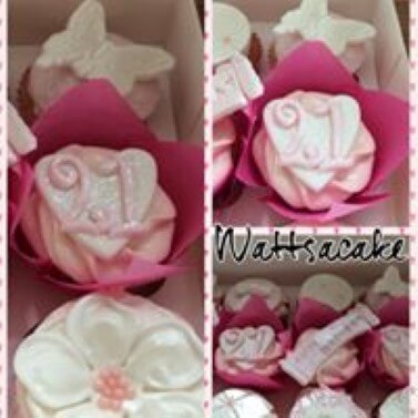 21st pink and white cupcakes