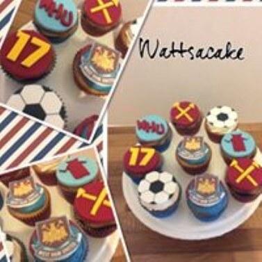 West Ham theme cupcakes