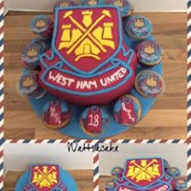 West Ham theme cake with matching cupcakes