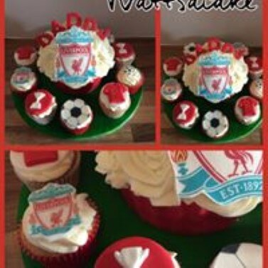 Liverpool theme giant cupcake with matching cupcakes