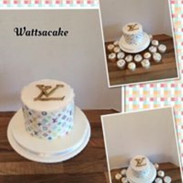 LV theme cake and matching cupcakes