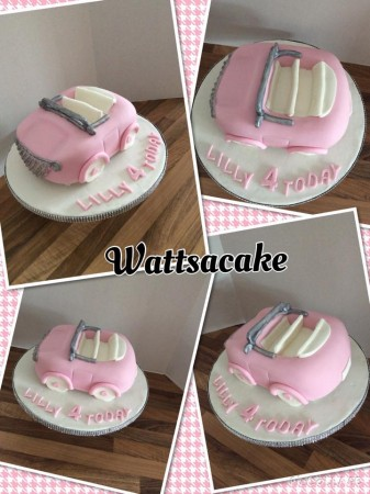 Little pink car cake