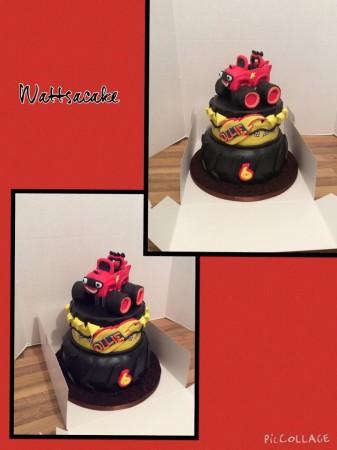 Blaze monster machine theme cake
