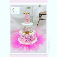 1st princess ruffle cake
