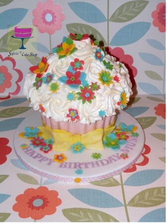 Colorful flowers giant cupcake