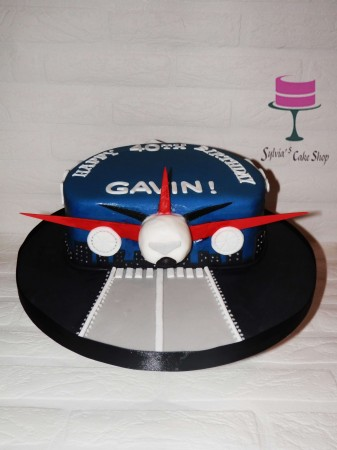 Bespoke airplane cake-the airplane's front coming out