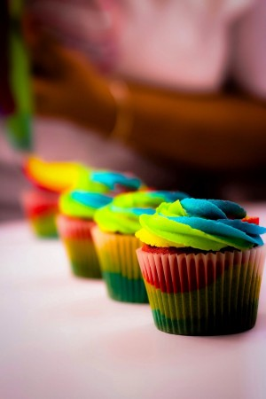 Rainbow Tropical Punch Cupcakes