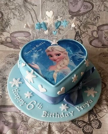 Frozen cake heart shaped