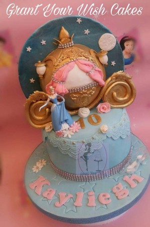 Cinderella cake with half carriage and decorated back scene Can be baked Gluten or Lactose free.