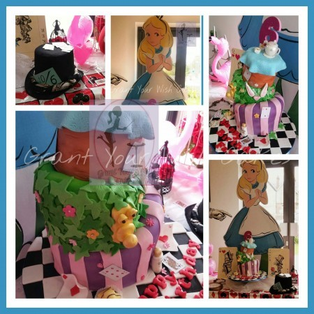 Alice in wonderland theme cake. Can be baked Gluten / Dairy free.