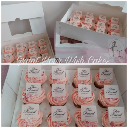 Mini cupcakes with corporate logo. Can be baked eggless, dairy or gluten free or Vegan.