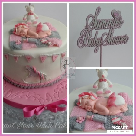 Baby Shower Cake. Can be made in a different colour. Can be baked Egg, gluten, dairy free and Vegan.