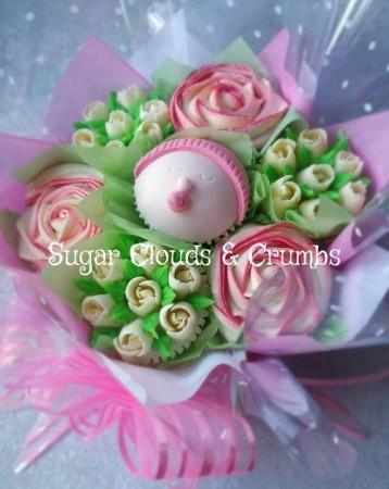 Baby Shower Bouquet Girl Sugar Clouds Crumbs