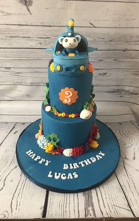 Bespoke Two tier Paw Patrol cake -Lucas and No.4 on it.