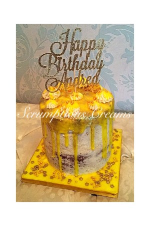 Lemon Drizzle Cake with personalised topper
