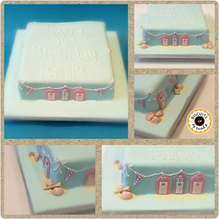 Beach huts & Bunting Celebration Cake