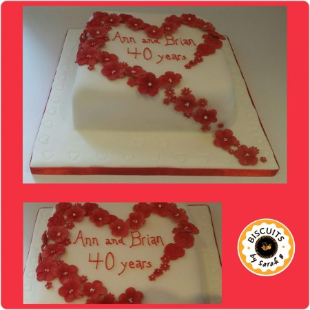 Flowers & Heart Cake