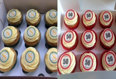 30 cupcakes - red roses/red sprinkles/ red baubles and one with 40 on it