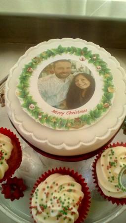 Christmas Greeting Photo Cake