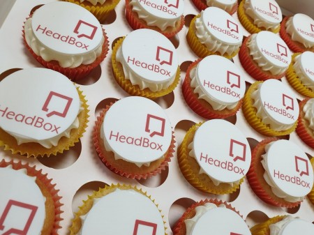Corporate Logo cupcakes on icing discs