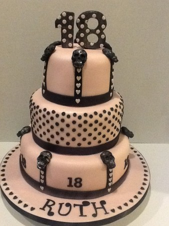 18th Birthday 3 Tier Chocolate Pink Black Skulls Cake