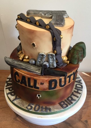 Awe Inspiring Call Of Duty Two Tier Cake Crooked Halo Cakes And Makes Funny Birthday Cards Online Inifodamsfinfo