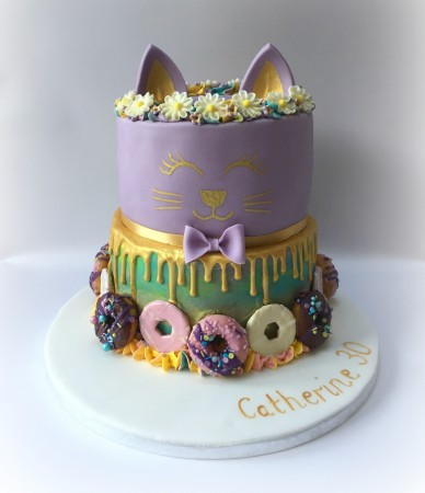 2 Tier Cat Face Cake
