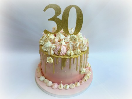 Pink, Gold and White Ombre Meringue Drip Cake