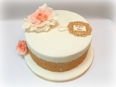 Gold Lace and Peony Cake