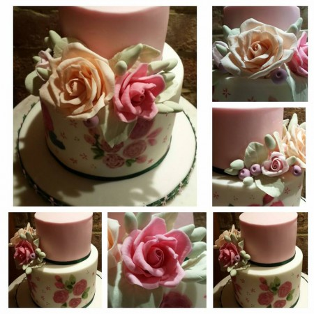 2 TIERED CAKE- with hand made flowers