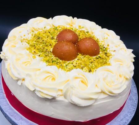 Gulab jamun and saffron mousse gateau