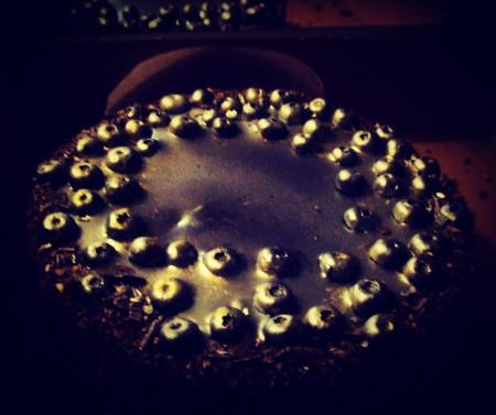 Vanilla and blueberry cheesecake