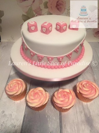 Baby shower cake with 12 cupcakes