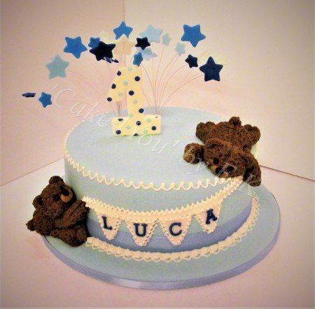 Christening/Birthday Cake with personalised topper
