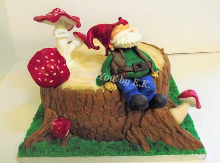Birthday/Celebration Cake with personalised topper - 'Gnome'