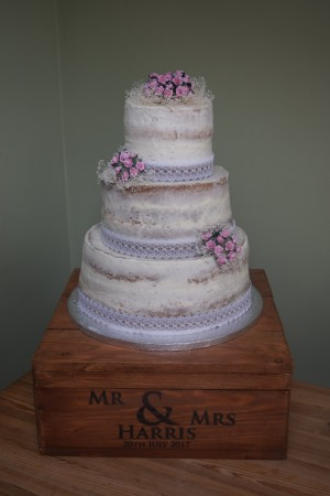 Three tier semi naked cake/wedding cake