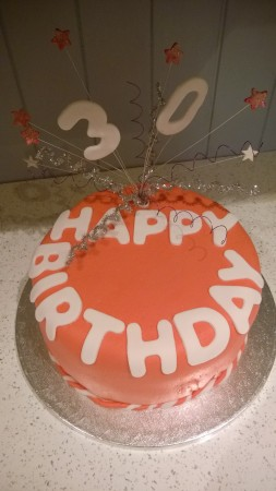 Birthday cake with topper - gluten-free