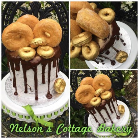 Chocolate doughnut drip cake