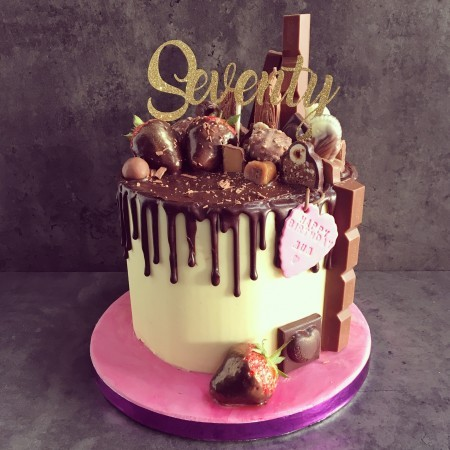 Chocolate drip cake- without topper