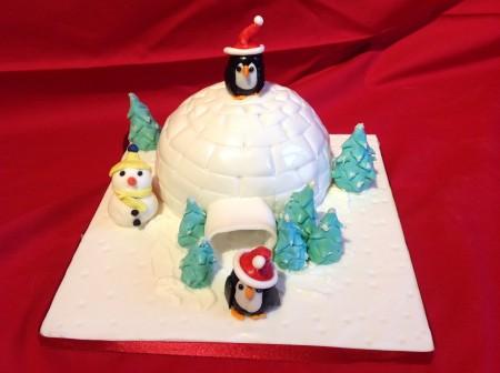 Christmas Penguin igloo cake