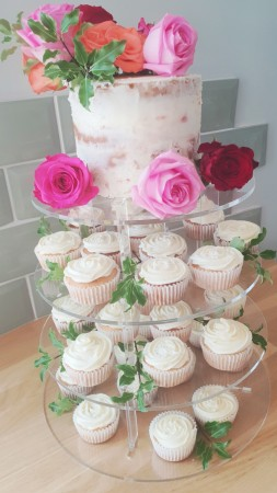 Semi Naked Wedding Cake And Cupcakes Mrs Crazy Cakes