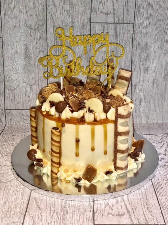 Caramel drip Birthday Cake