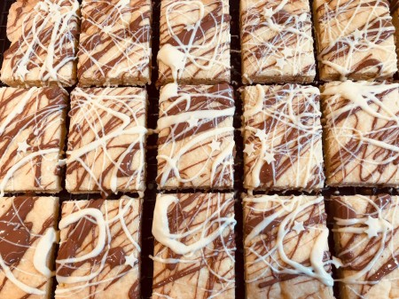 Chocolate drizzled Butter Shortbread