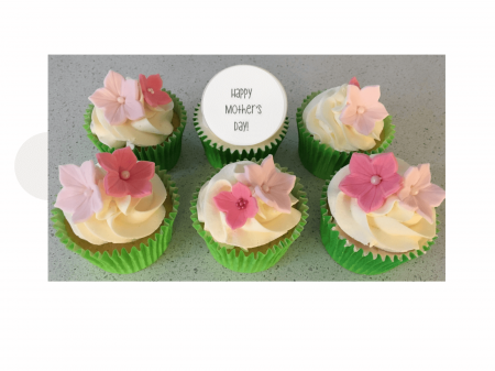 Mother's Day Floral Cupcakes with Printed Message