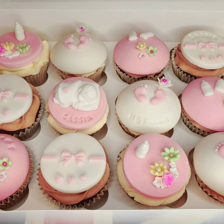 Baby Shower Cupcake with Buttercream and Fondant Toppers